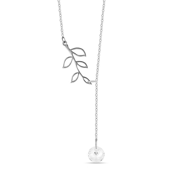 Tree Branch Lariat Necklace, 925 Sterling Silver, Silver Plated Twig Pendant - jeweleen - 1