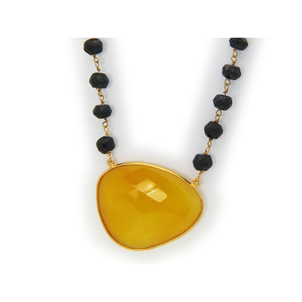 "Fronay Collection Organic Yellow Jade & Black Onyx Sterling Silver Necklace, 16"" - jeweleen"
