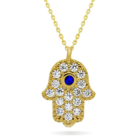 Small Hamsa Necklace, 925 Sterling Silver, 14K Gold Plated Hand of Fatima Necklace - jeweleen - 1
