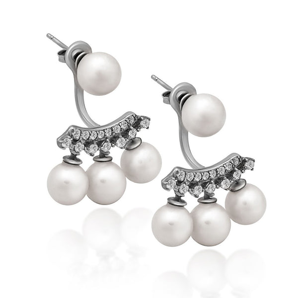 925 Sterling Silver Earrings, Ear Jacket Pearl Earrings, Four White Round Pearl Studs - jeweleen - 1