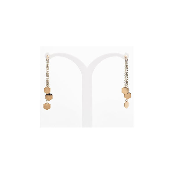 Hanging hexagone earrings - gold - jeweleen