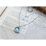 White gold layered aquamarine drop initial necklace - jeweleen - 4