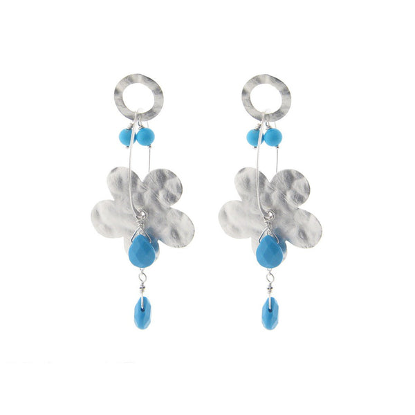 Fronay Co., Sterling Silver Hammered Flower & Turquoise Stones Earrings - jeweleen