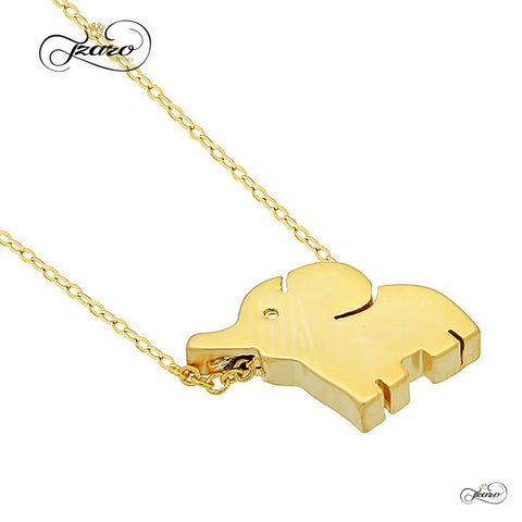 Small Elephant Necklace, 925 Sterling Silver, 14K Gold Plated Mini Elephant Necklace