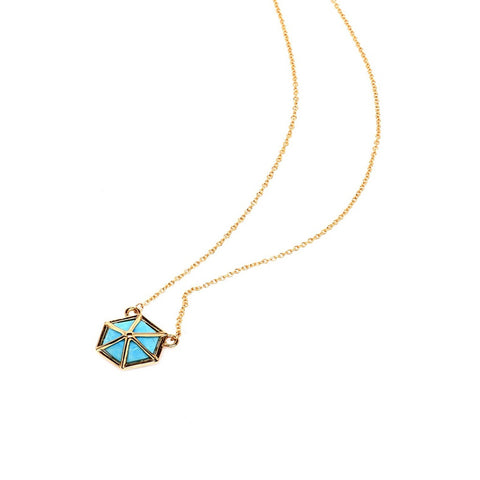 Turquoise-Howlite Hexagon Pendant Necklace