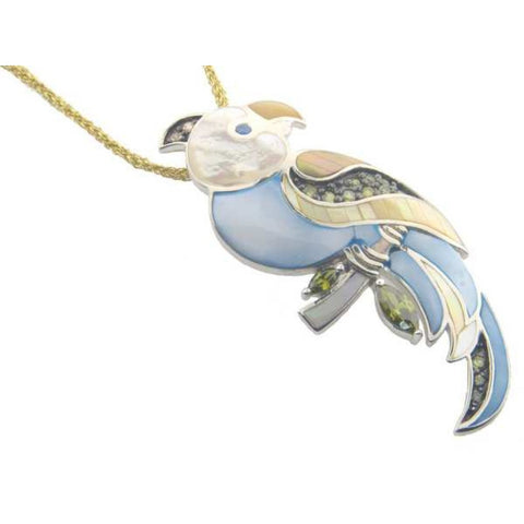 Vintage Mother of Pearl & Zirconia Parrot Pendant   925 Sterling Silver by  .