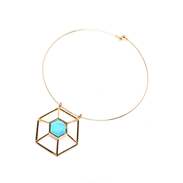 Turquoise-Howlite Hexagon Statement Necklace