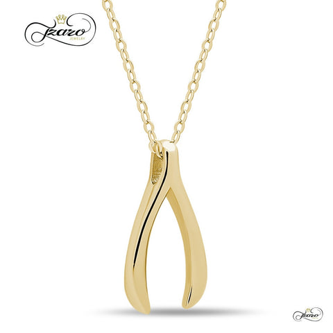 Delicate Wishbone Necklace, 925 Silver, 14K Gold Plated Wishbone Pendant