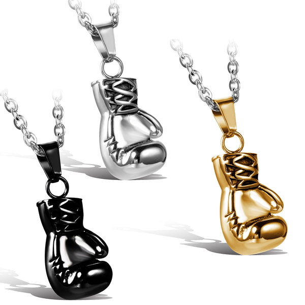 Gold/Black/Silver Fashion Lovely Mini Boxing Glove Necklace Boxing match Jewelry Stainless Steel Cool Pendant for Men Boys - jeweleen - 1