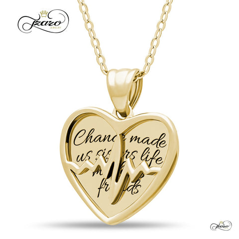 Sister Two Heart Necklace, 925 Silver, 14K Gold Plated Best Sister Forever Necklace