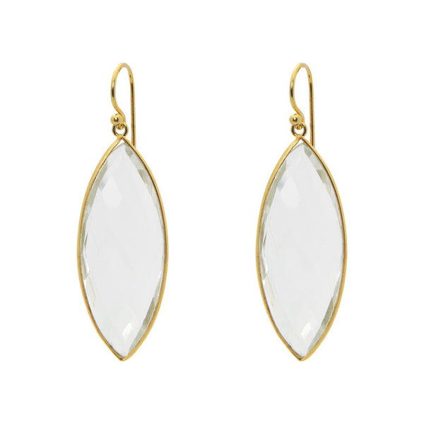 Marquise Clear Quartz Hook Earrings