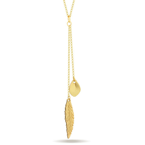 Feather and Leaf Necklace,14K Gold Plated Double Necklace, Layered Necklace