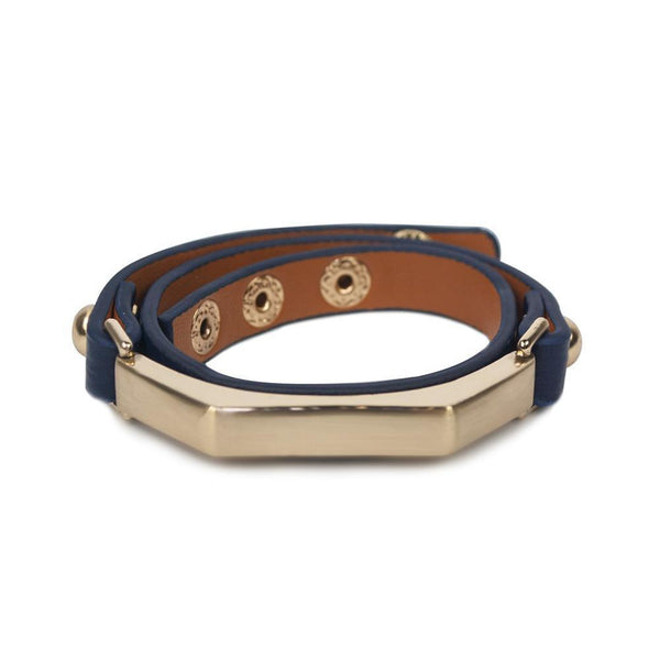 Sash Leather Bracelet- Navy Blue