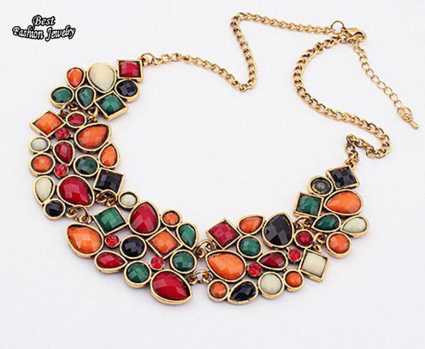 New Popular Multicolor Big Pendant Clavicle Chain Necklace - jeweleen