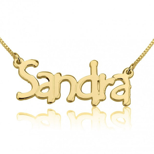 24K Gold Plated Tree Style Name Necklace - jeweleen - 1
