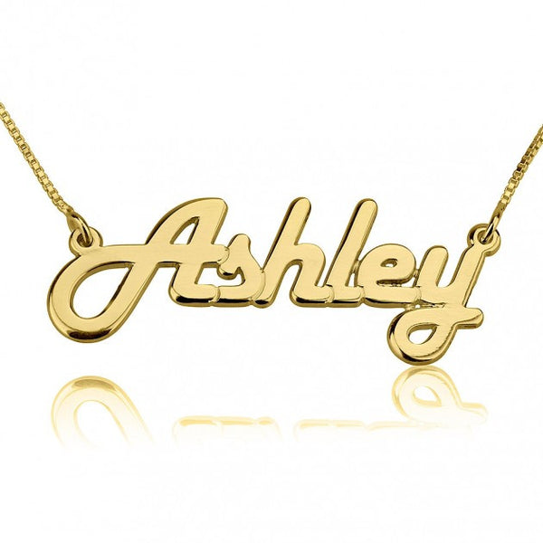 24K Gold Plated Italic Name Necklace - jeweleen - 1