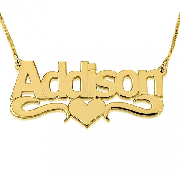 24K Gold Plated Bold Print with Heart Name Necklace - jeweleen - 1