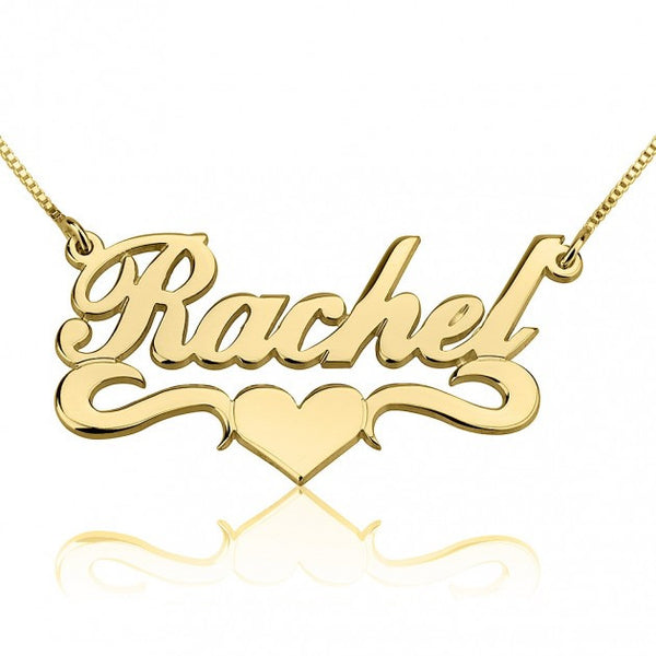 24K Gold Plated Alegro with Middle Heart Name Necklace - jeweleen - 1