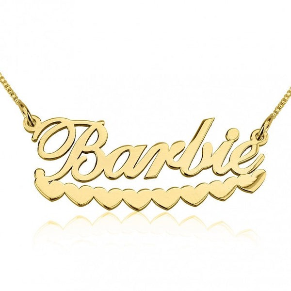 24K Gold Plated Barbie Hearts Name Necklace - jeweleen - 1