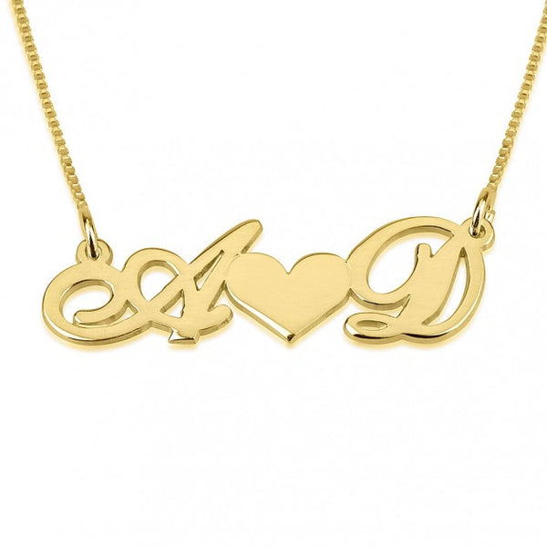 24K Gold Plated Initials Necklace with Heart - jeweleen - 1