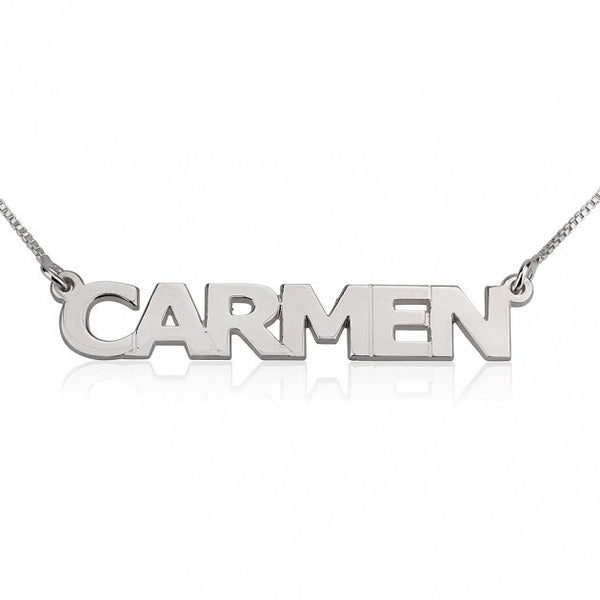 14K White Gold Block Letters Name Necklace - jeweleen - 1