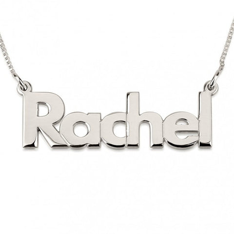 14K White Gold Bold Print Name Necklace - jeweleen - 1