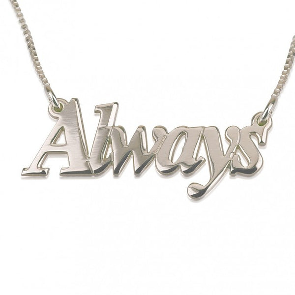 14K White Gold Thicker Font Name Necklace - jeweleen - 1