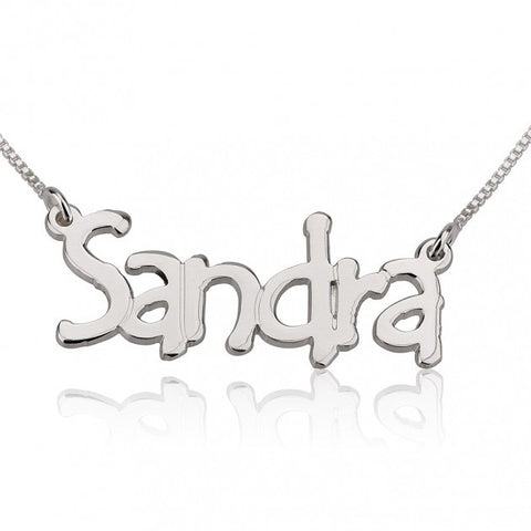 14K White Gold Tree Style Name Necklace - jeweleen - 1