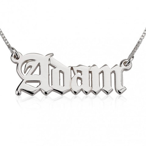 14k White Gold English Style Name Necklace - jeweleen - 1