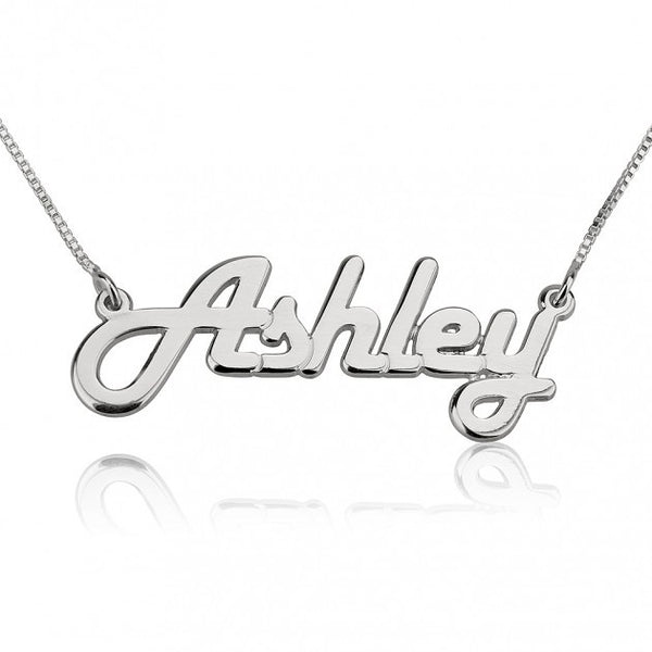 14k White Gold Italic Name Necklace - jeweleen - 1