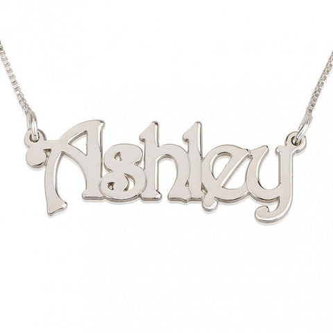 14k White Gold Harrie Style Name Necklace - jeweleen - 1
