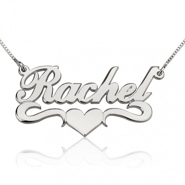 14k White Gold Alegro with Middle Heart Name Necklace - jeweleen - 1