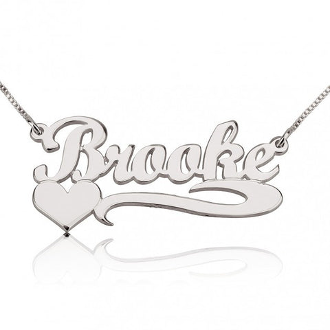 14k White Gold Handwritten with Side Heart Name Necklace - jeweleen - 1