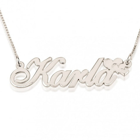14k White Gold Delicate Name Necklace with Hearts - jeweleen - 1