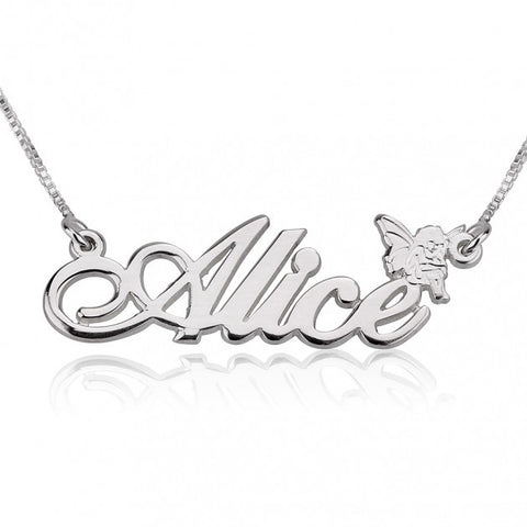 14k White Gold Alegro Name Necklace with Angel - jeweleen - 1