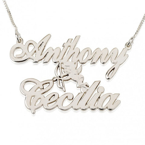 14k White Gold Two Alegro Name Necklaces with Cupid - jeweleen - 1