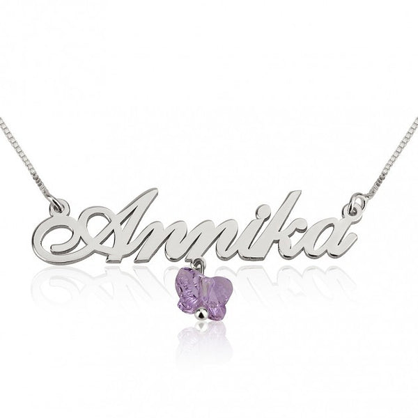 14k White Gold Alegro Name Necklace with Purple Butterfly - jeweleen - 1