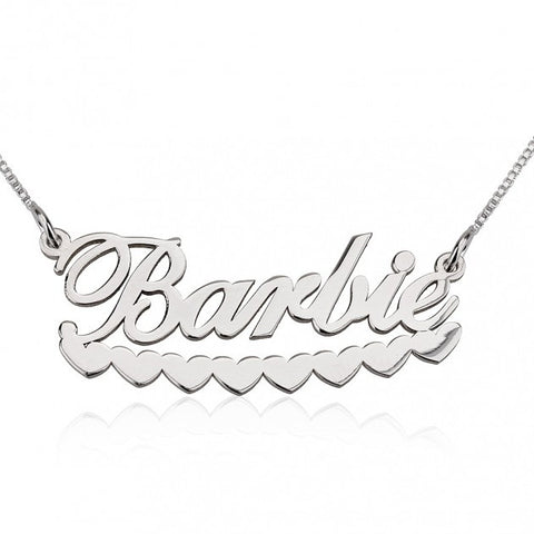 14k White Gold Barbie Hearts Name Necklace - jeweleen - 1