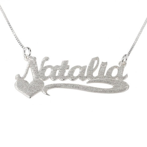 Brushed Sterling Silver Handwriting Name Necklace with Side Heart - jeweleen - 1