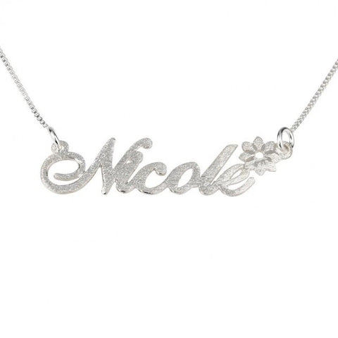 Brushed Sterling Silver Name Necklace with Flower - jeweleen - 1