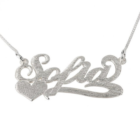 Brushed Sterling Silver Carrie Name Necklace with Side Heart - jeweleen - 1
