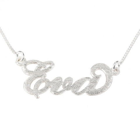 Brushed Sterling Silver Carrie Name Necklace - jeweleen - 1