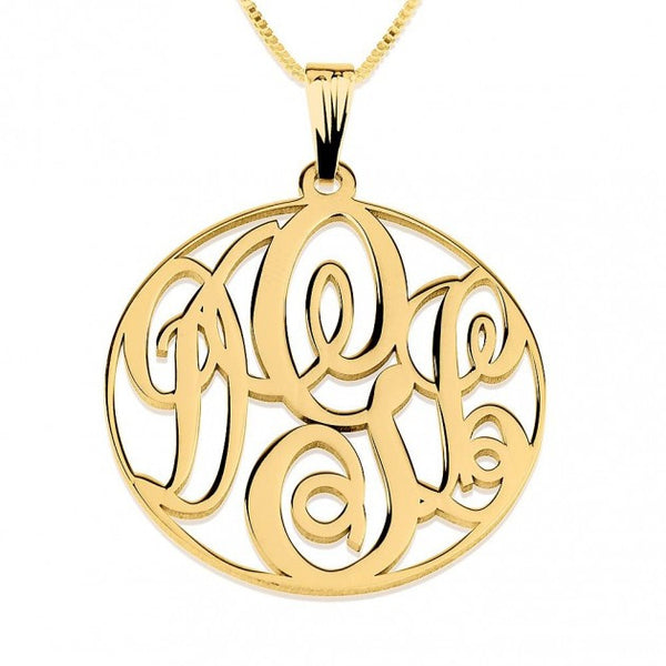 24k Gold Plated Circle Monogram Necklace - jeweleen - 1