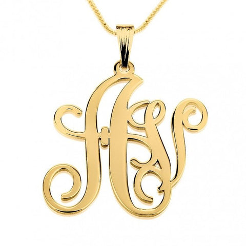 24k Gold Plated Two Letters Large-Small Monogram Necklace - jeweleen - 1