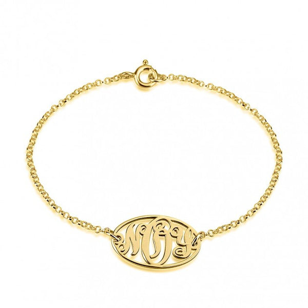 24k Gold Plated Circle Monogram Bracelet - jeweleen - 1