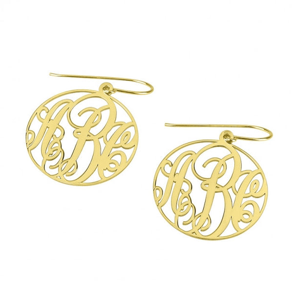 24k Gold Plated Monogram Earrings - jeweleen