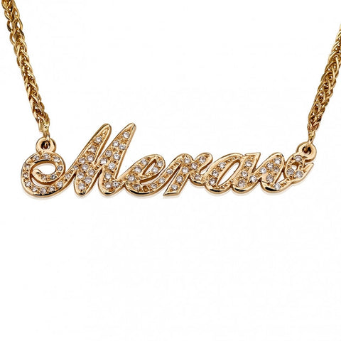 Double Thickness 14K Yellow Gold Diamond Name Necklace - jeweleen - 1