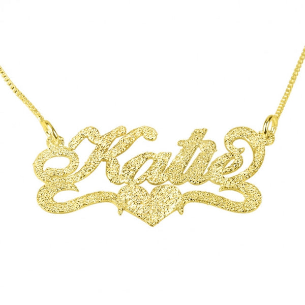 Sparkling 14k Gold Carrie Name Necklace with Center Heart - jeweleen - 1