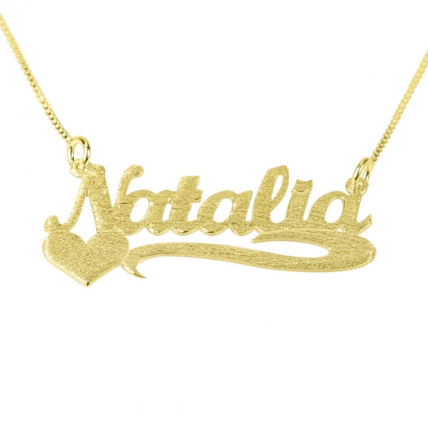 Brushed 14k Gold Name Necklace with Side Heart - jeweleen - 1