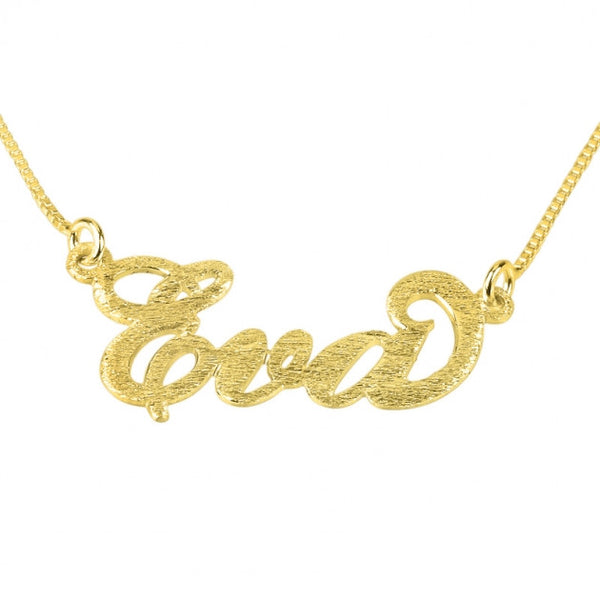 Brushed 14k Carrie Name Necklace - jeweleen - 1